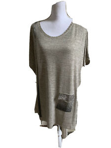Malissa J Taupe Bling Pocket Short Sleeve Top, One Size