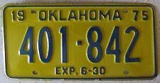 Oklahoma 1975 License Plate HIGH QUALITY # 401-842