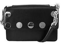 ** MICHAEL KORS RIVINGTON STUD NATALIE Black Leather X-Body Bag Msrp $298.00