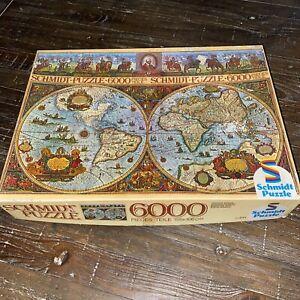Vintage Schmidt 6000 Piece Puzzle Historical World Map 2751 German - COMPLETE!!
