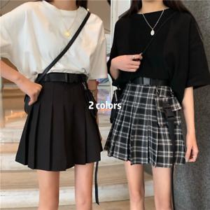 Women Girl Pleated A-line Skirt Check Mini Gothic Punk Pocket Belt Korean