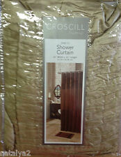 "Croscill CHESAPEAKE Fabric SHOWER CURTAIN  70""x72"" Solid Gold Pleated Top/Bottom"