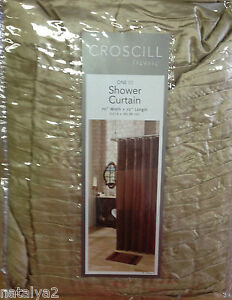 """Croscill CHESAPEAKE Fabric SHOWER CURTAIN  70""""x72"""" Solid Gold Pleated Top/Bottom"""