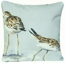 Sea Birds Cushion Cover Blue Grey Pillow Throw Case Carnac Printed Cotton Fabric