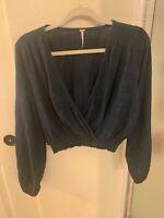 Free People dark blue navy faux wrap blouse boho top size S