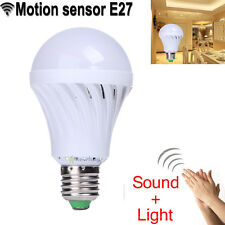 E27 7W 85- 220V Sound & Light Sensor Auto Motion Detection LED Light Lamp Bulb