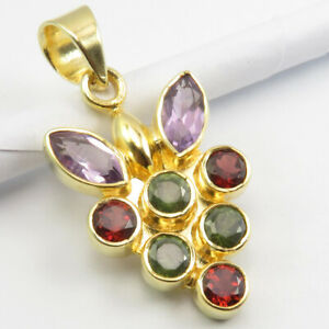 """Gold Plated Natural AMETHYST, PERIDOT, GARNET Pendant 1.3"""" Solid Sterling Silver"""
