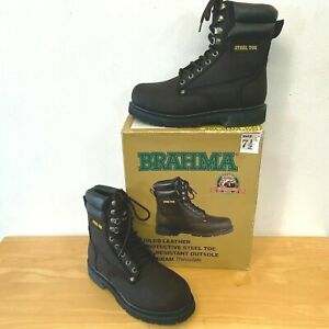 Brahma Boots size 7.5 Steel Toe Brown Oiled Leather UNWORN in Box Oil Resist E1