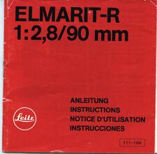 Leitz: Leica ELMARIT-R 90mm f:2,8; notte d'utilizzo.  Plurilinguaggio.