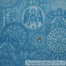 New listing BonEful Fabric Cotton Quilt Blue Cross Angel Catholic Jesus Religious Sale Scrap