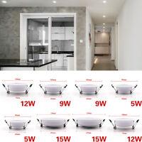 LED Panel Downlight Recessed Ceiling Light 3W 5W 7W 9W 12W 15W 18W Lamp Bulb