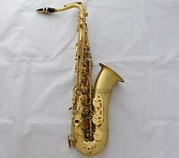Professional Matt Gold Lacquer Tenor Saxophone Sax ABALONE Key High F# New Case