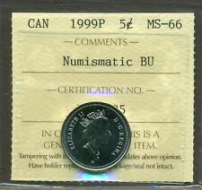 RARE 1999 P CANADA NICKEL TEST TOKEN, SCARCE, ICCS Certified MS-66 NBU