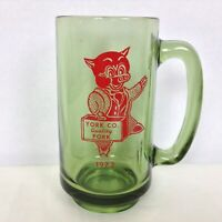 Vintage 1972 York Co Quality Pork PIG in A Suit Green Glass York Pennsylvania