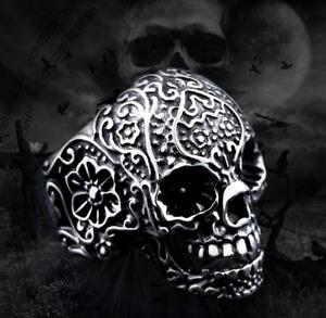 Anello Teschio Fascia Uomo Donna Unisex Acciaio Inox Steel Skull Punk Harley