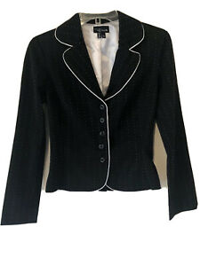 My Michelle Womens Black and White Striped Blazer Jacket size 3/4