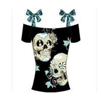 Womens Ladies Skull Graphic Print Gothic Vest Tank Tops Summer Singlet T Shirts