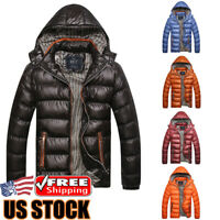 Men's Winter Warm Hooded Thick Padded Jacket Zipper Casual Parka Outwear Coat US