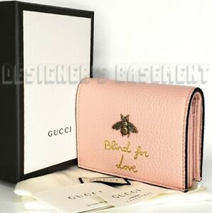GUCCI Animalier Pink leather Gold BEE BLIND FOR LOVE Mini wallet NIB Authen $650