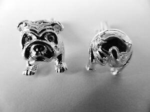 sterling silver BULL DOG swivel cufflinks UK made