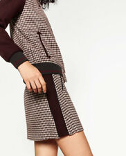 Zara Basic Collection Womens Houndstooth Check Mini Skirt Maroon Gray Size Small
