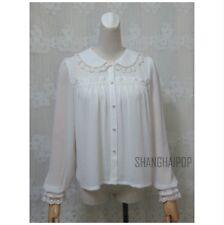 Women Flare Long Puff Sleeve Lace Frilly Blouse Chiffon Lolita Vintage Top Shirt