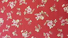 FABRIC TRADITIONS ASSORTED PRINTS RED AND YELLOW ROSES ON RED COTTON FABRIC BTY