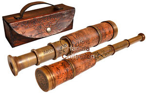 Nautical Marine Spyglass Brass Telescope with Leather case & High Quality Lens
