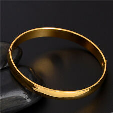 Fashion 18K Gold Plated Oval Plain BANGLE BRACELET Solid Ladies