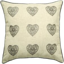 Catherine Lansfield Silver Square Scatter Cushion Cover 43x43cm Vintage Hearts