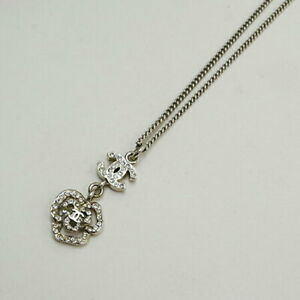 Chanel Flower Pattern Stone Coco Mark Necklace Accessory