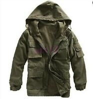 Hot Mens Cotton Fleece Short Jacket Military Outerwear Canvas Dust Coat Hooded