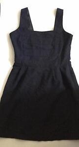 Ladies navy blue bib front wool blend mini dress 8