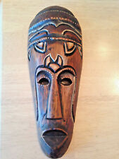 """Vintage Indonesia Hand Carved Wood Mask Hanging Decorative Wall Art African 12"""""""