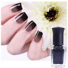 6ml Thermal Nail Art Temperature Color-Changing Polish Peel Off Black to Grey