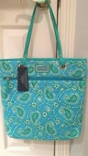 NWT Authentic Tommy Hilfiger Blue Green Paisley Tote Bag Purse $78