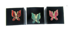 3 x adjustable butterfly enamel rings costume jewellery gift boxed
