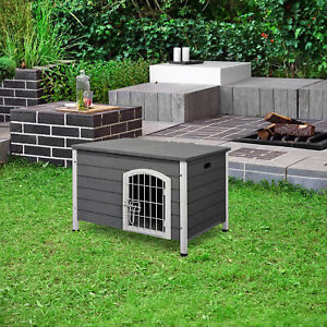 PawHut Wooden Dog Kennel Crate Pet House Openable Top Grey 80 x 55 x 53.5cm