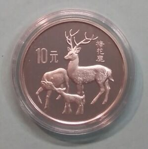 China 10 Yuan 1989 Hirsch Sikahirsch WWF Tiere der Welt PP, 27g 925er Silber (M7