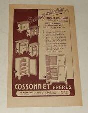 Dépliant Publicitaire CuisinesCOSSONNET Frères Rue de Rennes PARIS Glacières ...