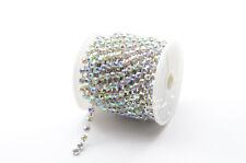Diamante 4mm AB Rhinestone Chain Trim Silver dancecloth bikini crafts  10 yard