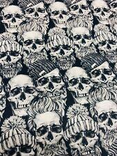 Baumwollstoff 100 % Totenkopf Skull Meterware schwarz-weiß Meterpreis 11,90