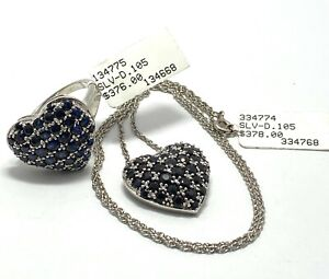.925 Sterling Silver 0.21ct Genuine Diamond 3.55ct Sapphire Set of Necklace Ring