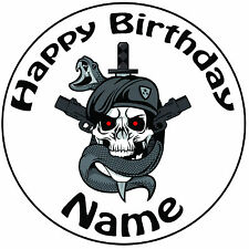 """Personalised Birthday Dark Ops Round 8"""" Easy Precut Icing Cake Topper"""