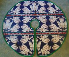 Tapestry Angels Trumpets Christmas Tree Skirt Blue White