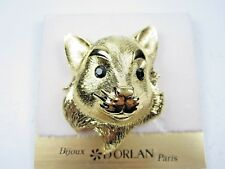 Brooch with Swarovski Crystals 1120 D'Orlan Gold Plated Fox Head