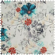 Modern Floral British Design Print Natural Blue White Colours Upholstery Fabric