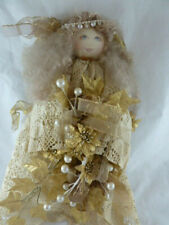 """Christmas Angel Tree Topper Handcrafted 14"""" Crocheted lace Handcrafted Gorgeous"""