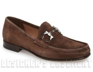 SALVATORE FERRAGAMO brown suede 9EE BOND Gancini Bit loafer shoes NIB Auth $660