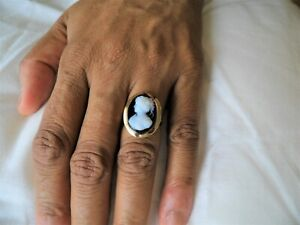 bague ring ancienne or rose 18k camé onyx T52